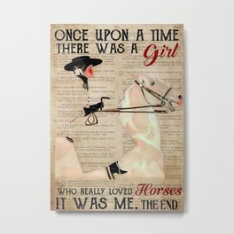 Animals World Fadeaway Girl Horse Dictionary Metal Print