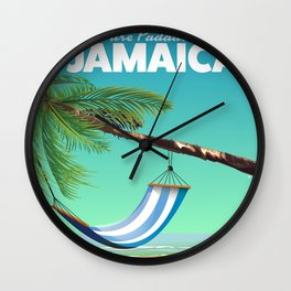 'Pure Paradise' Jamaica travel poster Wall Clock