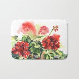 plant geranium, flowers and leaves, watercolor Bath Mat