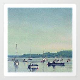 Scottish Coastline With Boats Art Print