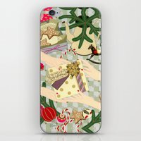 gift card iPhone & iPod Skins featuring Merry Christmas gift by Yuliya