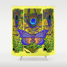 FANTASY PURPLE MONARCH BUTTERFLY PEACOCK FEATHER Shower Curtain