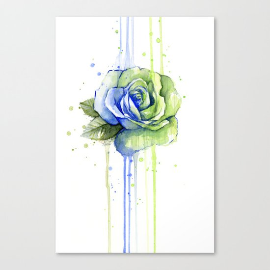 Flower Rose Watercolor Painting 12th Man Art Canvas Print