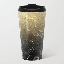 Modern girly luxurious faux gold glitter black marble pattern Travel Mug