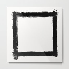 Square Strokes Black on White Metal Print