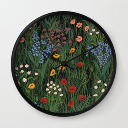 Meadow Floral Wildflowers Illustration Botanical Cottage Garden Flowers Nature Art Wall Clock