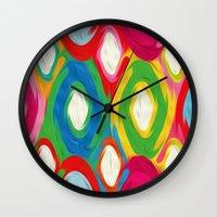 ikat Wall Clocks featuring Ikat by Helene Michau