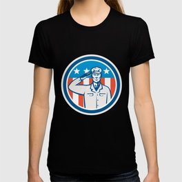 American Soldier Salute Flag Circle Retro T-shirt