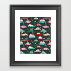 Christmas pattern print vintage cars holiday gifts presents christmas trees cute decor Framed Art Print