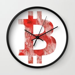 Bitcoin Red Pink streaked wash drawing Wall Clock