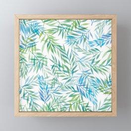 Watercolour Ferns   Blue Green Framed Mini Art Print