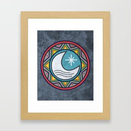 Sun and moon indigenous style Framed Art Print