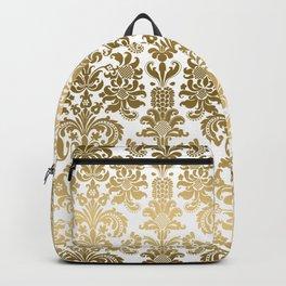 White & Gold Floral Damask Pattern Backpack