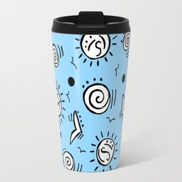 Doodle Drawing Seagulls Shells Sun - Blue Background Travel Mug