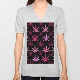 Marijuana Magenta Pink Weed Unisex V-Neck