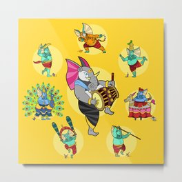 Ganesha Folk Dances Metal Print