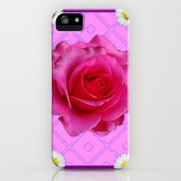 Lilac Color Shasta Daisies & Fuchsia Pink Rose Pattern iPhone Case