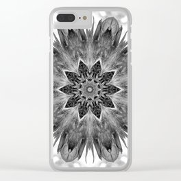 Beautiful Black White Flower Abstract Clear iPhone Case