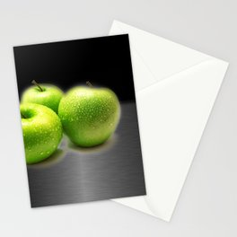 Wet Green Apples on Metallic Background Stationery Cards
