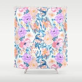 Modern watercolor garden floral paint Shower Curtain