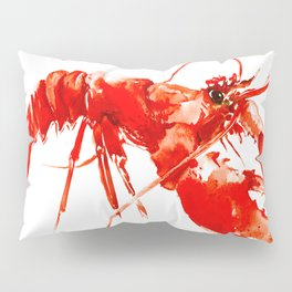 Red Kitchen Seafood Red Lobster design, art, painting Boston Pillow Sham