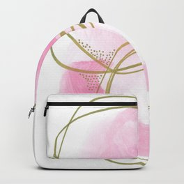 Entangled: vibrant, pink and gold abstract watercolor Backpack
