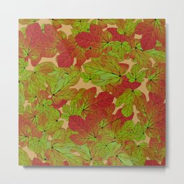 Abstract watercolor burgundy red green fig leaves foliage Metal Print