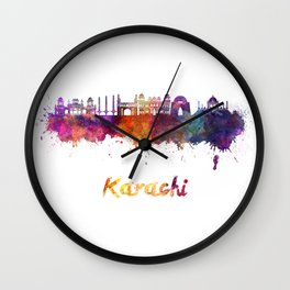 Karachi skyline in watercolor Wall Clock