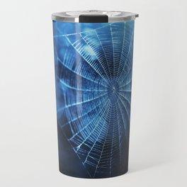Spider Web in Blue Travel Mug