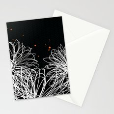 Black Doodle Floral by Friztin Stationery Cards