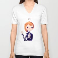 bones V-neck T-shirts featuring Bones by Nan Lawson