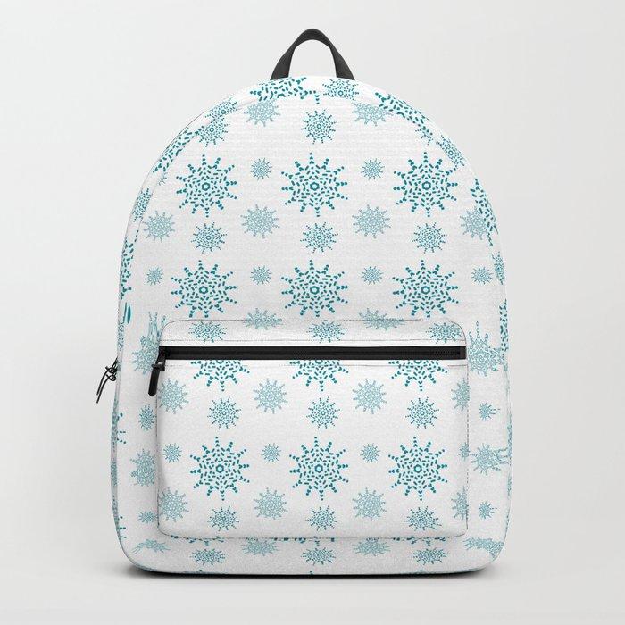 Soft Aqua Blue Snowflake Pattern Backpack