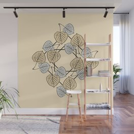 Dry Aspen Leaves in Squares 2 Wall Mural