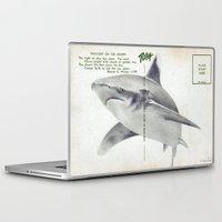 postcard Laptop & iPad Skins featuring Postcard Shark by Sarah Sutherland