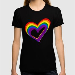Colorful Rainbow Heart LGBT Gay Love Pride Support T-shirt