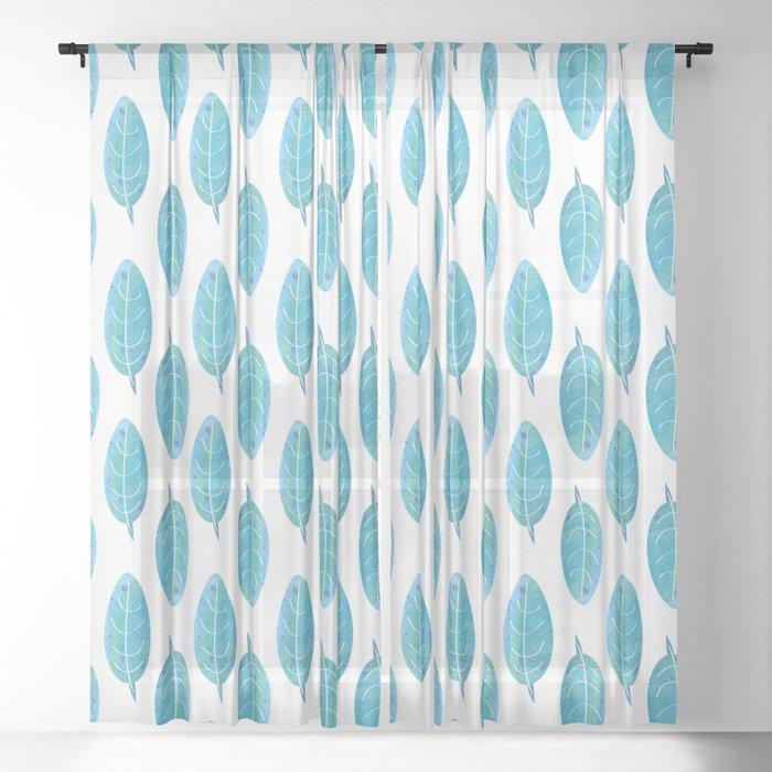 Peacock Blue Leaf Pattern Sheer Curtain