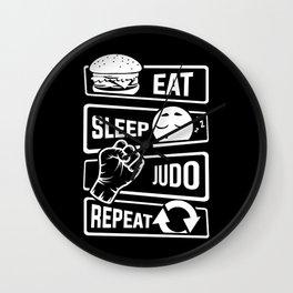 Eat Sleep Judo Repeat - Martial Arts Defence Wall Clock