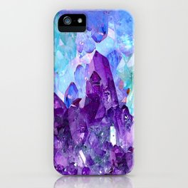 PURPLE AMETHYST CRYSTALS & BLUE-GREEN AQUAMARINE iPhone Case