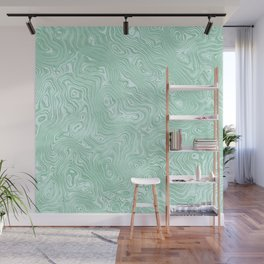 Mint Green Silk Moire Pattern Wall Mural