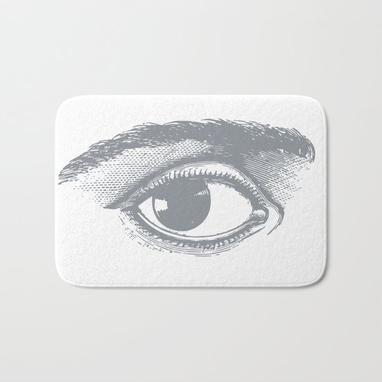 I see you. Gray on White Bath Mat