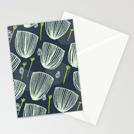 Tulip Garden M+M Navy Black by Friztin Stationery Cards