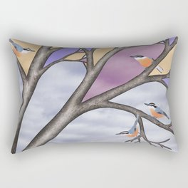 red breasted nuthatches in the stained glass tree Rectangular Pillow