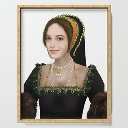Anne Boleyn painting - on transparent background Serving Tray