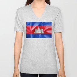 Cambodia Flag Unisex V-Neck