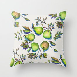 Summer's End - apples and pears Throw Pillow