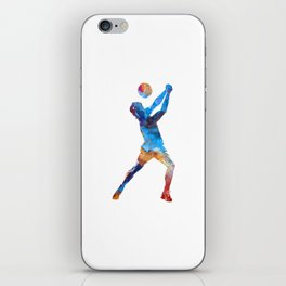 Volley ball player man 01 in watercolor iPhone Skin