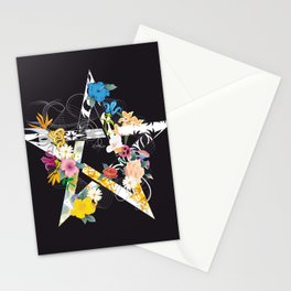Pentagram with flowers Stationery Cards
