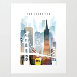 City of San Francisco painting Art Print