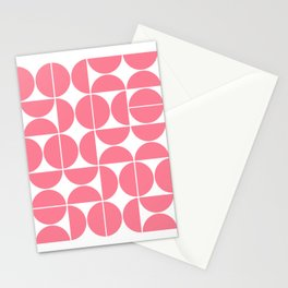 Mid Century Modern Geometric 04 Pink Stationery Cards