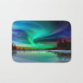 Galaxy Watercolor Aurora Borealis Bath Mat